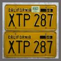 1956 California YOM License Plates For Sale - Original Vintage Pair XTP287