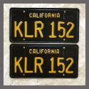1963 California YOM License Plates For Sale - Vintage Pair KLR152