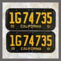 1951 California YOM License Plates For Sale - Restored Vintage Pair 1G74735