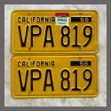 1956 California YOM License Plates For Sale - Original Vintage Pair VPA819