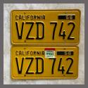 1956 California YOM License Plates For Sale - Original Vintage Pair VZD742