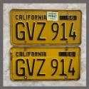 1956 California YOM License Plates For Sale - Original Vintage Pair GVZ914