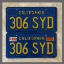 1970 - 1980 California YOM License Plates For Sale - Original Vintage Pair 306SYD