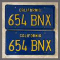 1970 - 1980 California YOM License Plates For Sale - Original Vintage Pair 654BNX