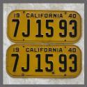 1940 California YOM License Plates For Sale - Original Vintage Pair 7J1593