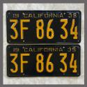 1935 California YOM License Plates For Sale - Repainted Vintage Pair 3F8634