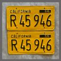 1956 California YOM License Plates For Sale - Repainted Vintage Pair R45946 Truck