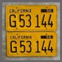 1956 California YOM License Plates For Sale - Repainted Vintage Pair G53144 Truck