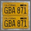 1956 California YOM License Plates For Sale - Repainted Vintage Pair GBA871