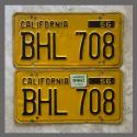 1956 California YOM License Plates For Sale - Original Vintage Pair BHL708