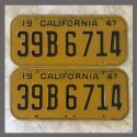 1947 California YOM License Plates Pair Original 39B6714