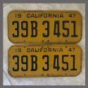 1947 California YOM License Plates Pair Original 32B3451