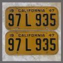 1947 California YOM License Plates Pair Original 97L935