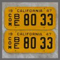 1947 California YOM License Plates For Sale - Repainted Vintage Pair 8033 Truck