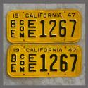 1947 California YOM License Plates For Sale - Repainted Vintage Pair EE1267 Truck