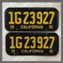 1951 California YOM License Plates For Sale - Original Vintage Pair 1G23927