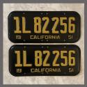 1951 California YOM License Plates For Sale - Restored Vintage Pair 1L82256