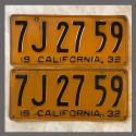 1932 California YOM License Plates For Sale - Original Pair 7J2759