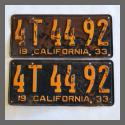 1933 California YOM License Plates Pair Original 4T4492 For Sale