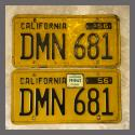 1956 California YOM License Plates For Sale - Original Vintage Pair DMN681