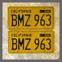 1956 California YOM License Plates For Sale - Original Vintage Pair BMZ963