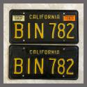 1963 California YOM License Plates For Sale - Original Vintage Pair BIN782