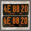 1931 California YOM License Plates For Sale - Repainted Vintage Pair 4E8820