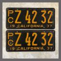 1937 California YOM License Plates For Sale - Original Pair Z4232 Truck