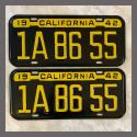 1942 1943 1944 California YOM License Plates For Sale - Original Pair 1942 1943 1944 California YOM License Plates For S