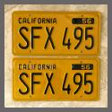 1956 California YOM License Plates For Sale - Restored Vintage Pair SFX495
