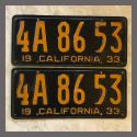 1933 California YOM License Plates Pair Original 4A8653