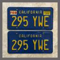 1970 - 1980 California YOM License Plates For Sale - Original Vintage Pair 295YWE