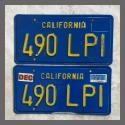 1970 - 1980 California YOM License Plates For Sale - Original Vintage Pair 490LPI
