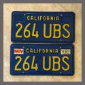 1970 - 1980 California YOM License Plates For Sale - Original Vintage Pair 264UBS