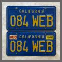 1970 - 1980 California YOM License Plates For Sale - Original Vintage Pair 084WEB