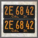 1931 California YOM License Plates For Sale - Original Pair 2E6842