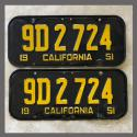 1951 California YOM License Plates For Sale - Original Vintage Pair 9D2724