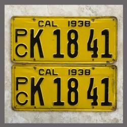 1938 California YOM License Plates For Sale - Original Pair K1841 Truck