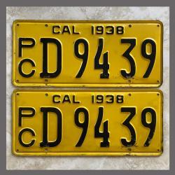 1938 California YOM License Plates For Sale - Original Pair D9439 Truck