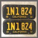 1951 California YOM License Plates For Sale - Original Vintage Pair 1N1824