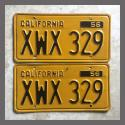 1956 California YOM License Plates For Sale - Original Vintage Pair XWX329