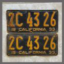 1933 California YOM License Plates Pair Original 2C4326