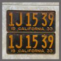1933 California YOM License Plates Pair Original 1J1539