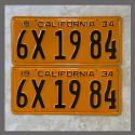 1934 California YOM License Plates For Sale - Repainted Vintage Pair 1934 California YOM License Plates For Sale - Repai