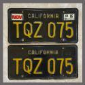 1963 California YOM License Plates For Sale - Original Vintage Pair TQZ075