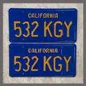 1970 - 1980 California YOM License Plates For Sale - Restored Vintage Pair 532KGY