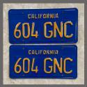 1970 - 1980 California YOM License Plates For Sale - Restored Vintage Pair 604GNC