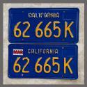 1970-1980 California YOM License Plates Pair Repainted 62665K Truck