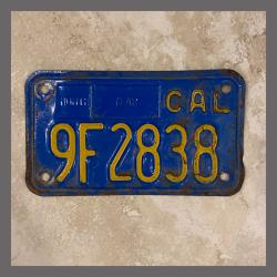 1970 - 1980 California YOM Motorcycle License Plate For Sale - 9F2838