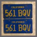 1970 - 1980 California YOM License Plates For Sale - Original Vintage Pair 561BQV